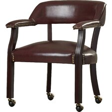 Low Back Traditional Guest Chair with Wrap Around Back and Casters