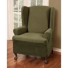 Blissfield Stretch One Piece Wing Chair T-Cushion Slipcover