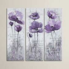 Poppy 3 Piece Painting Print on Canvas