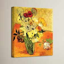 'Japanese Vase with Roses and Anemones' by Vincent Van Gogh Painting Print on Canvas