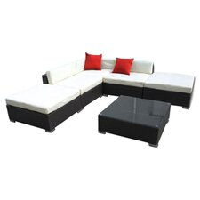 Camron Outdoor Rattan Wicker 6 Piece Seating Group with Cushions