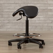 Arambula Height Adjustable Backless Stool with Saddle Seat