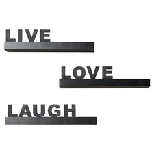 "Kelly 3 Piece ""Live, Love, Laugh"" Floating Shelf Set"