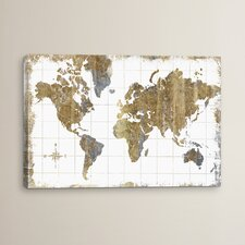 Gilded Map by All That Glitters Graphic Art on Wrapped Canvas