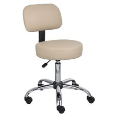 Soundview Adjustable Height Durable Caressoft Doctor's Stool with Back Cushion