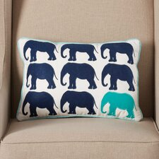 Bank Street Elephant Appliqued Cotton Lumbar Pillow