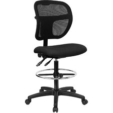 Terrance Height Adjustable Drafting Stool with Curved Back