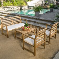 4 Piece Bench Seating Group with Cushions