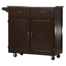 Dayville Large Kitchen Cart with Stainless Steel Top
