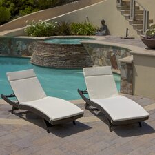 Garry Wicker Adjustable Chaise Lounge with Cushion (Set of 2)