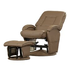 Faux Leather Gliding Recliner and Ottoman in Beige