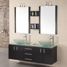 "Castaneda 61"" Floating Double Bathroom Vanity Set with Mirrors"