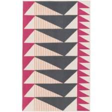 Catchings Hand-Woven Charcoal/Magenta Area Rug