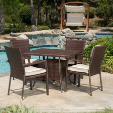Mccrea 5 Piece Rectangle Dining Set with Cushion