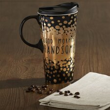 Lapan Good Morning Handsome Ceramic 17 oz. Perfect Cup with Metallic Accents with Box