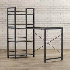 Bermondsey Glass Top Computer Desk with 4 Shelf Metal Bookcase