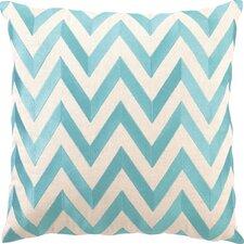 Kessler Embroidered Zig Zag Linen Throw Pillow