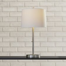 "Mckeever Brushed Steel 26"" H Table Lamp with Drum Shade"