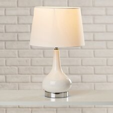 Moynihan Table Lamp with Drum Shade in White and Chrome