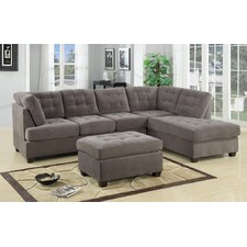 Aedesia  Piece Waffle Suede Sectional Sofa with Square Stitching Pattern