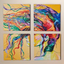 'Windswept' by Linzi Lynn 4 Piece Framed Painting Print on Wrapped Canvas Set