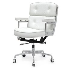 Curry Mid-Back Leather Office Chair with Arms