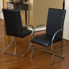 Barrera Leather and Chrome Arm Chair (Set of 2)