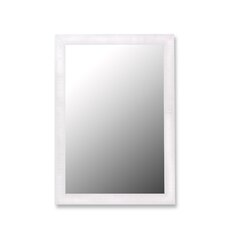 Glossy White and Petite Ribbed Framed Wall Mirror
