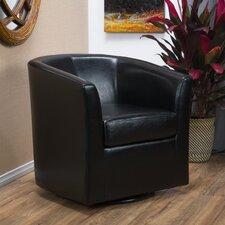 Blankenship Faux Leather Swivel Club Chair