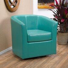Blankenship Faux Leather Swivel Club Chair