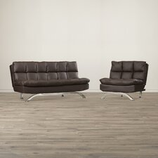 Yatton Bi-Cast Leather Convertible Sofa and Chair Set