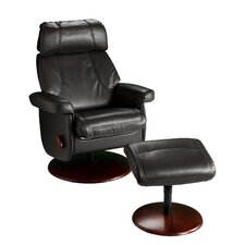 Leslie Black Swivel Glide Rocking Recliner with Ottoman