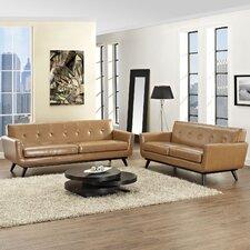 Saginaw 2 Piece Leather Living Room Set