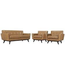 Saginaw 3 Piece Leather Living Room Set
