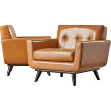 Saginaw Leather Arm Chair (Set of 2)