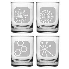 4 Piece Mod Icon Rock Glass Set (Set of 4)
