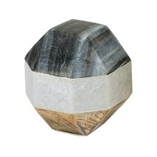 Marble and Wood Dodecahedron Sculpture