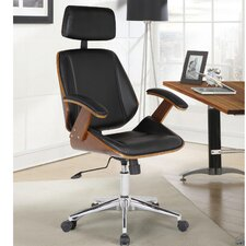 Langley Street Ery Office Chair with Multifunctional Mechanism (Black/Walnut)