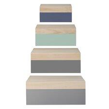 4 Piece Wood Storage Box Set
