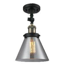 Glass Cone 1 Light Semi Flush Mount