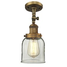 Bell Glass 1 Light Semi Flush Mount