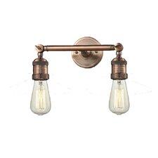 2 Light Bare Bulb Wall Sconce