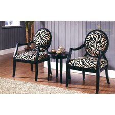 3 Piece Traditional Accent Chair Set
