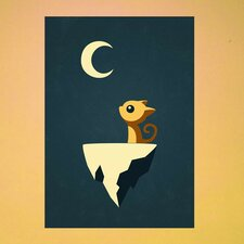 Anime Cat and Moon Wall Decal