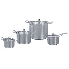 Q-linair Master Glas 4-Piece Stainless Steel Cookware Set