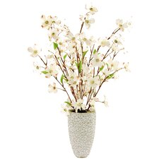 Dogwood in an Embossed Ceramic Vase