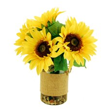 Sunflowers in a Vase with River Rocks and Faux Water