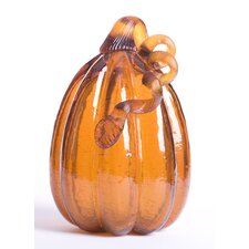 Glitzhome Tall Glass Pumpkin, Amber Crackle