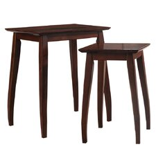 2 Piece Solid Wood Nesting Table Set
