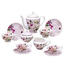 Grace's Tea Ware Botanical Pink Butterfly 11-Piece Porcelain Teapot Set